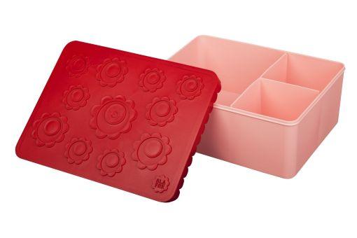 Blafre lunchbox, 3 vaks, bloemen rood/roze, wonderzolder.nl