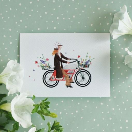 Kaart bloemen op de brommer, bromfiets, aquarel, carmens tekentafel, veldboeket, wonderzolder.nl