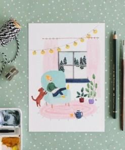 mini poster gezellig thuis, thuis, kaart, aquarel, carmens tekentafel, wonderzolder.nl