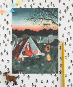 mini poster kamperen, carmens tekentafel, A5 kaart, poster, wonderzolder.nl
