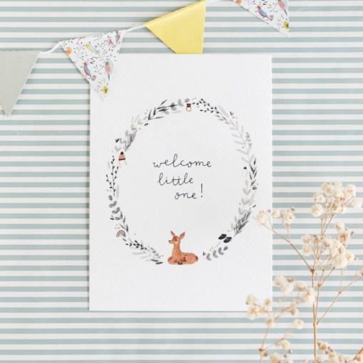 Kaart welcome little one, Carmens tekentafel, geboorte, baby, verwondering, wonderzolder.nl