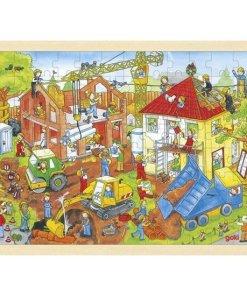 bouwerf puzzel, xxl puzzel goki, huizen bouwen, wonderzolder.nl