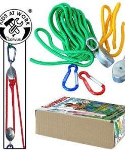 Katrol met 5 meter touw, katrol, takel, kids at work, buitenspelen, wonderzolder.nl