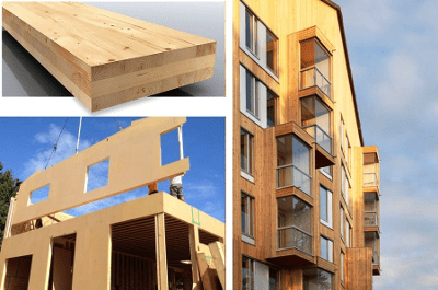 prefab CLT panelen (= Cross Laminated Timber)