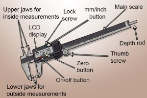 What are the parts of a digital caliper?