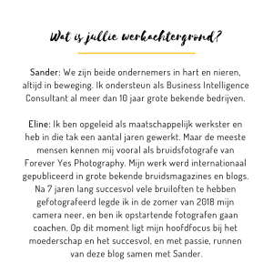 Wat is jullie werkachtergrond Wood and Gems Sander en Eline van der Woude Forever Yes Photography Forever Yes Academy