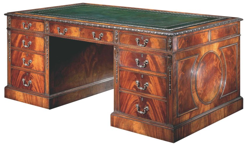Chippendale Style 'Partner's' Pedestal Desk.