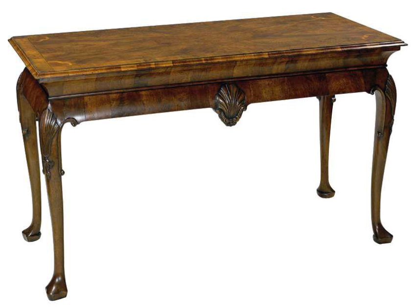 Walnut George I Style Console Table.