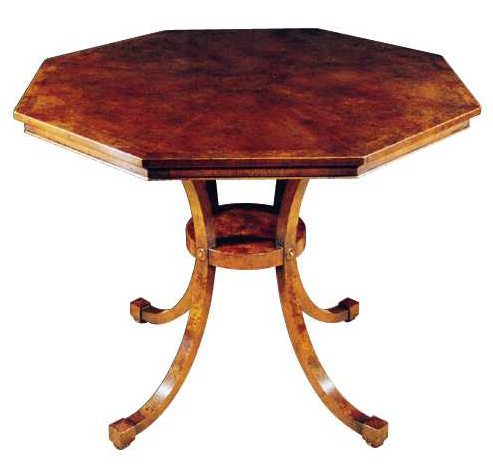 Regency Style Octagonal Burr Walnut Table.