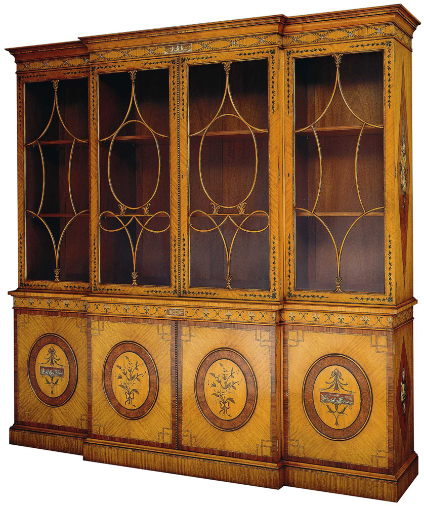 Satinwood Decorated Breakfront Bookcase