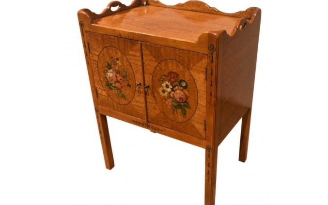 Satinwood Decorated Bedside Table