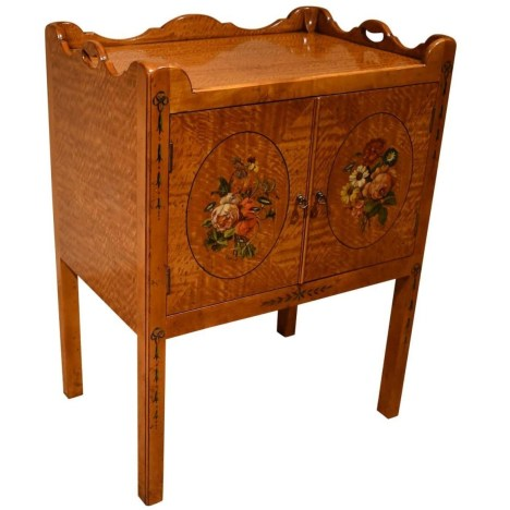 37292SD Satinwood Decorated Bedsid Table - Angle 2