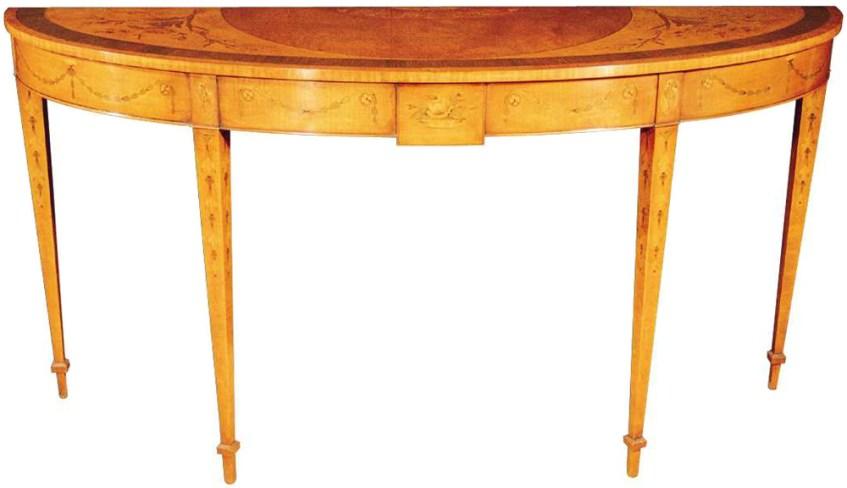 Sheraton Style Mahogany Marquetry Console Table