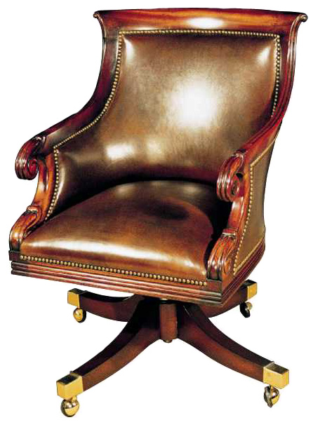 Mahogany Regency Style Swivel Desk Chair