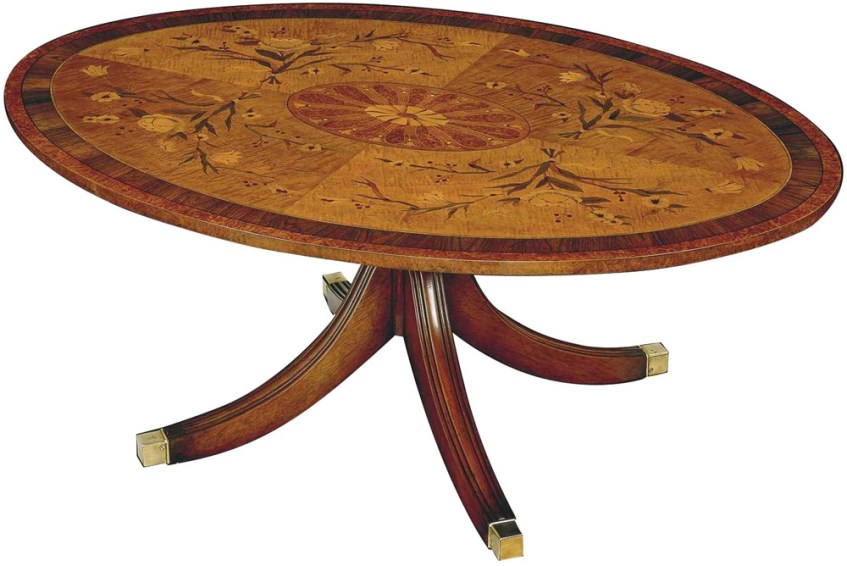 Regency Style Oval Marquetry Coffee Table