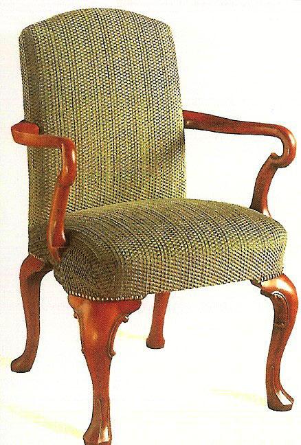 Queen Anne Style Walnut Open Armchair.