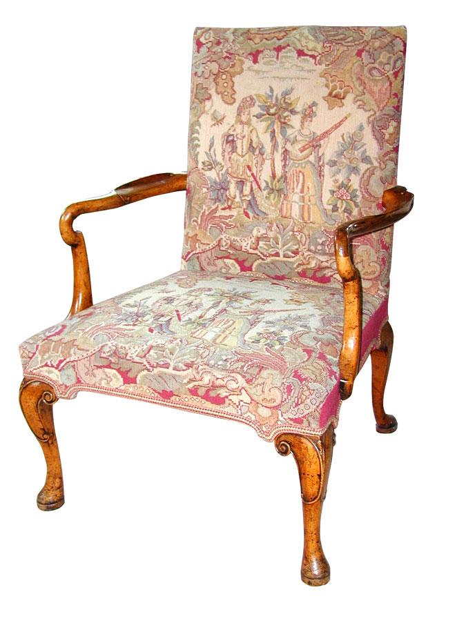 Walnut George I Style Open Armchair.