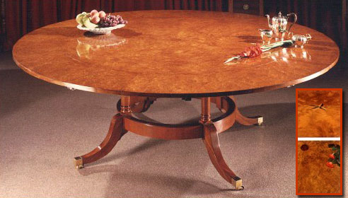 Burr Maple Sheraton Style Extending Circular Table.