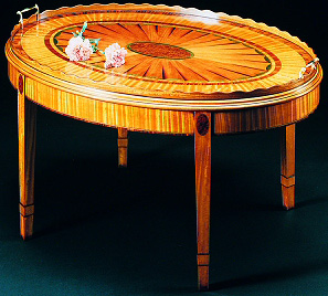 Sheraton Style Oval Inlaid Tray Table.