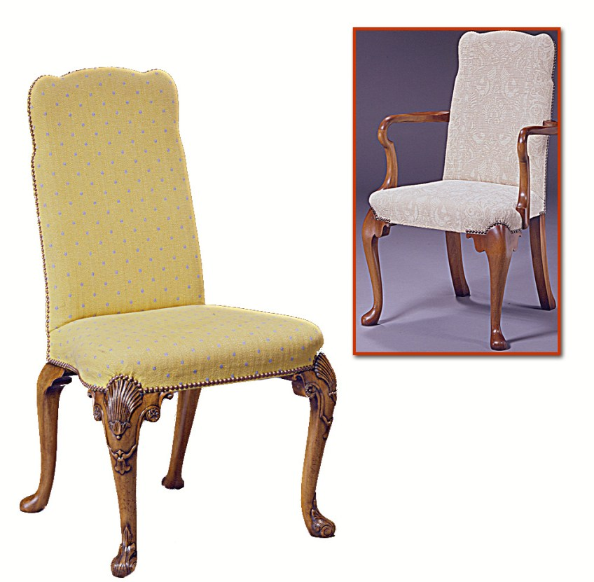 George I Style Walnut Upholstered Chair.