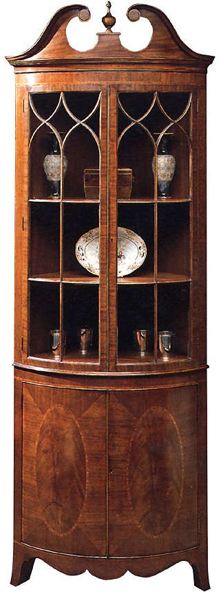 Mahogany Bow Shaped Corner Cabinet