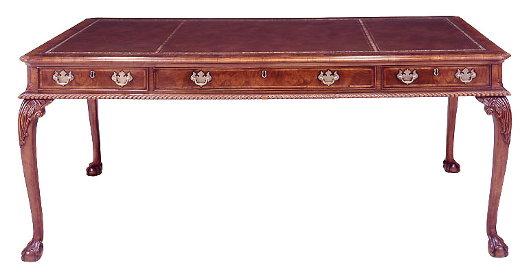 Walnut Chippendale Style Writing Table.