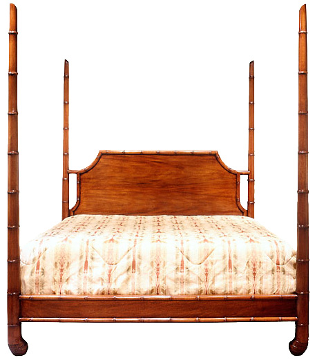Georgian Style Faux Bamboo Four Poster Bed.