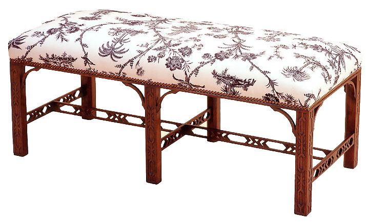 Chippendale Style Mahogany Bench.