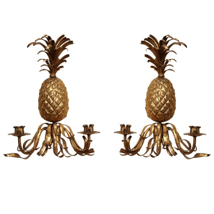 Pair of 19th Century Gilt Pineapple Sconces