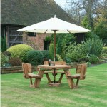 Circular 6 Or 9 Seater Wooden Picnic Table With Backrests Woodberry