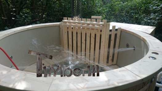 Filling In The Empty Polypropylen Hot Tub With Internal Heater