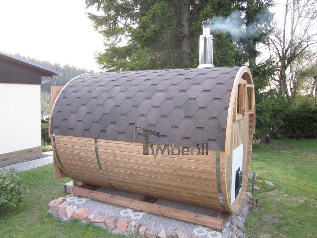 Outdoor barrel sauna