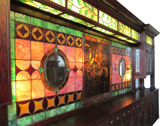 Stained Glass Back Bar Wooden Nickel Antiques