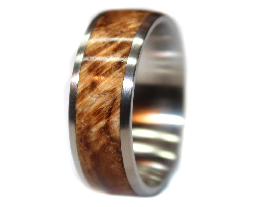 Buckeye Burl And Stainless Steel Wooden Ring Wooden Rings