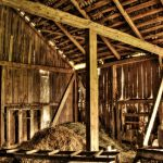 4515093 – interior of abandoned old barn at lithuanian countryside