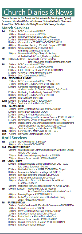 church diary march april 2015