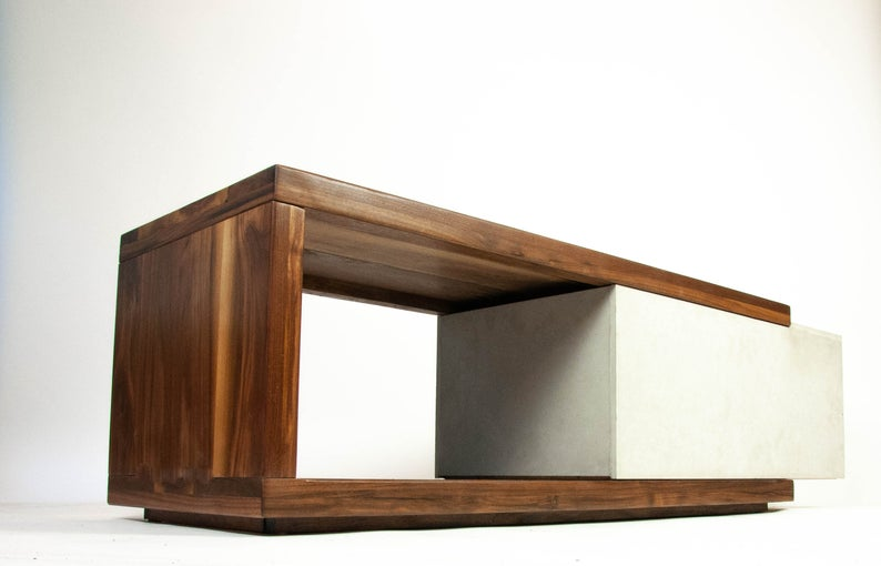 walnut wood concrete coffee table or