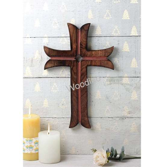 Woodino Christian Cross Mango Wood Wall Decor Showpiece