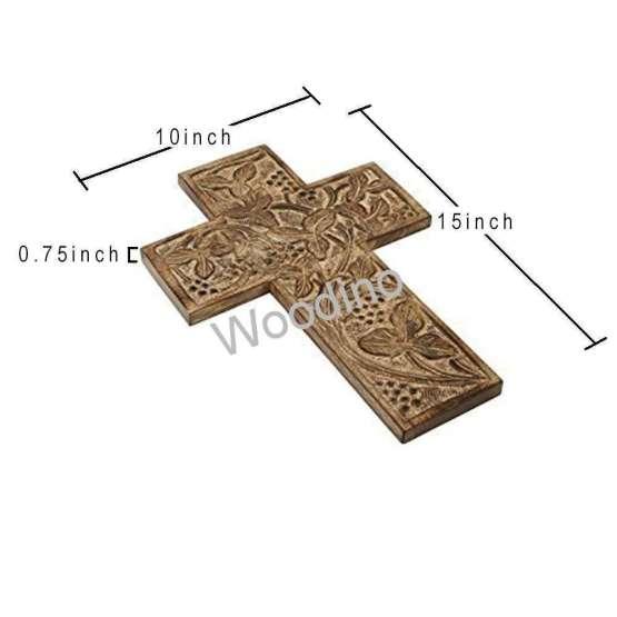 Woodino Antique Look Wooden Carving Jesus Cross
