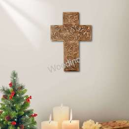 Woodino Antique Look Wooden Carving Jesus Cross