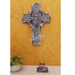 Woodino Wood Jesus Cross Fancy Carving Wall Decor