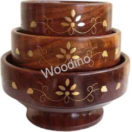 Woodino Brass Work Wooden Bowl Set