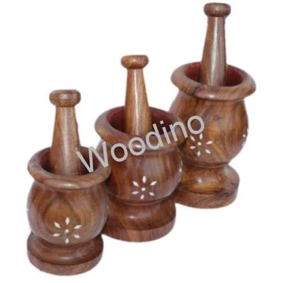Woodino White Work Wooden Masher Set of 3