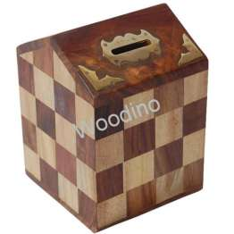 Woodino Handicrafts Hut Shaped Money Bank
