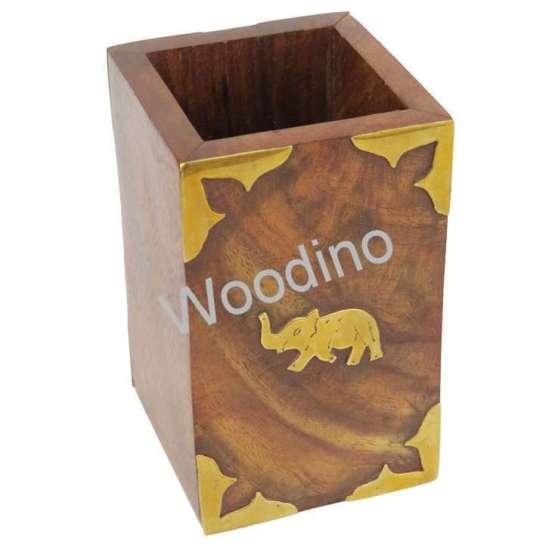 Woodino Brass Elephant Rectangular Wooden Pen Jar