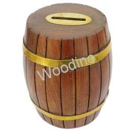 "Woodino Wooden Barrel Shape Golden Strip 6x5"""