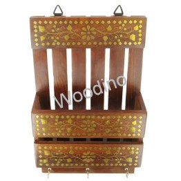 Woodino Full Brass Work Wall Latter Rack