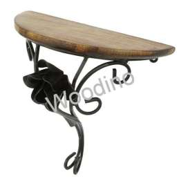 Woodino Wooden & Wrought Iron Flower Wall Bracket