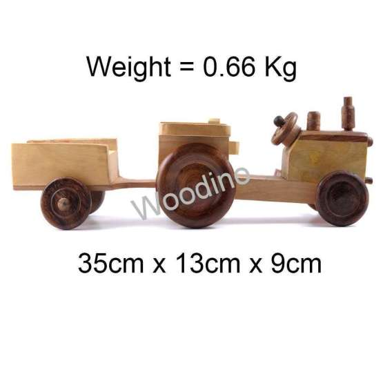 Woodino Hand Push Pulled Tractor Trolley Toy