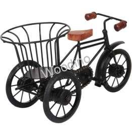 Woodino Wrought Iron Wooden Basket Rickshaw